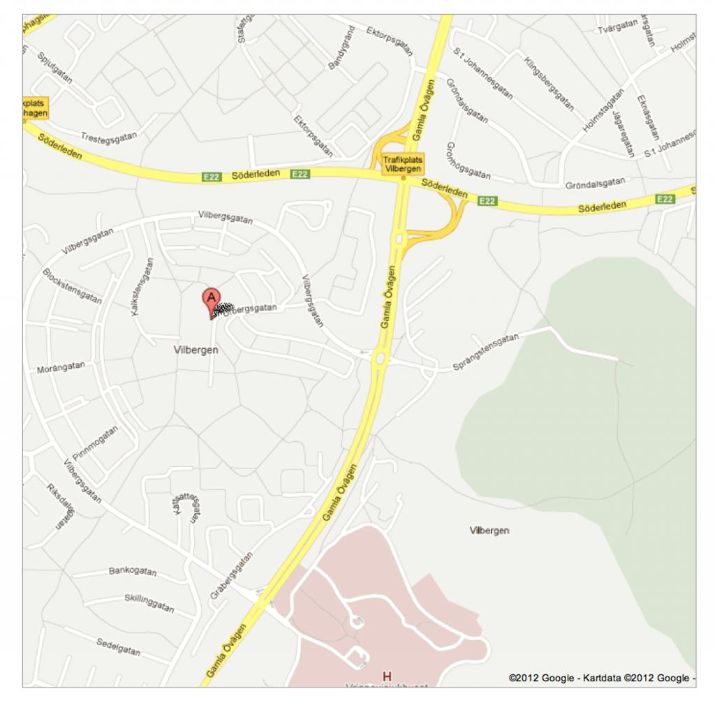 Vi finns vid den röda markeringen, klicka på kartan för större bild